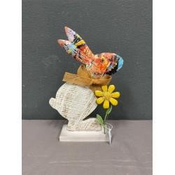 METAL & WOODEN BUNNT WITH FLOWER