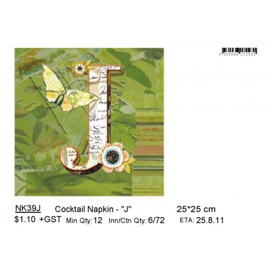 ***Cocktail Napkin - _J_