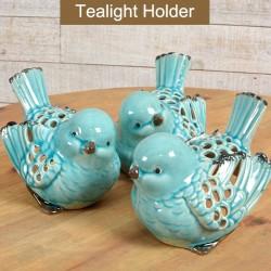 3/A BLUE Porcelain Bird Tlight hold