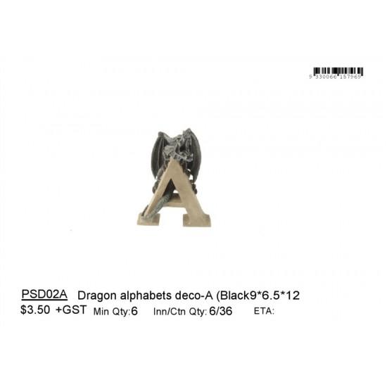 Dragon alphabets deco-A (Black