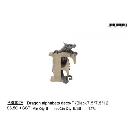Dragon alphabets deco-F (Black