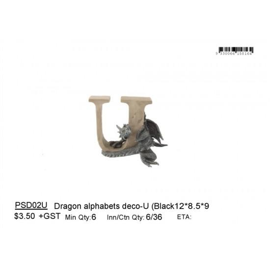 Dragon alphabets deco-U (Black
