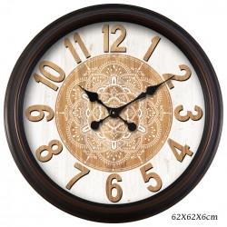 BROWN MANDALA CLOCK  62CM