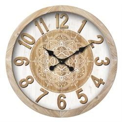 WOODEN MANDALA CLOCK 60CM