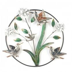 METAL BIRD AND FLOWERS WALL DéCOR